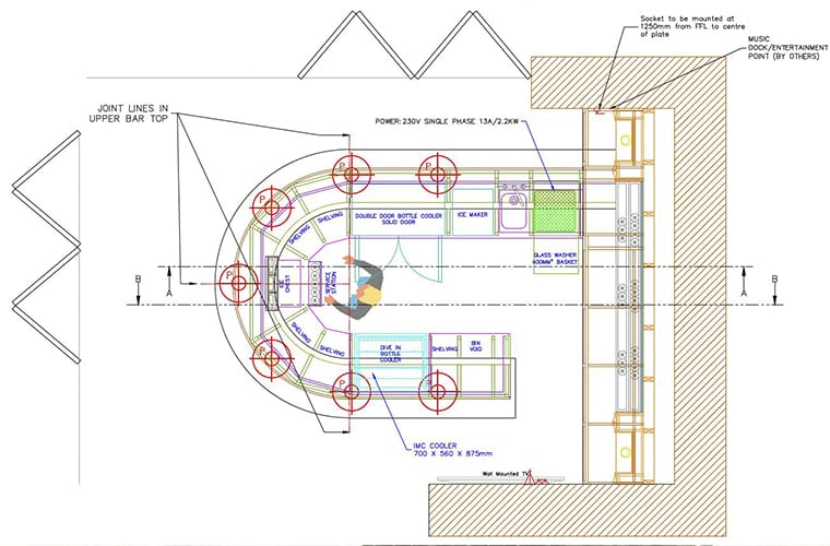 Home Bar CAD Drawing